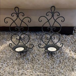 2 black hanging candle holders
